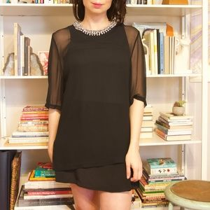 3.1 Phillip Lim embellished neckline black dress M